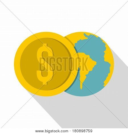 Globe and dollar coin icon. Flat illustration of globe and dollar coin vector icon for web