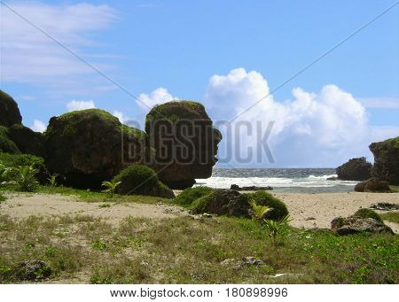 Old Man by the Sea, Saipan,  Named for the spectacular rock formation that resembles the head of an old man staring out to sea.
