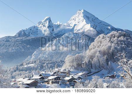 Town Of Berchtesgaden With Watzmann In Winter, Bavaria, Germany