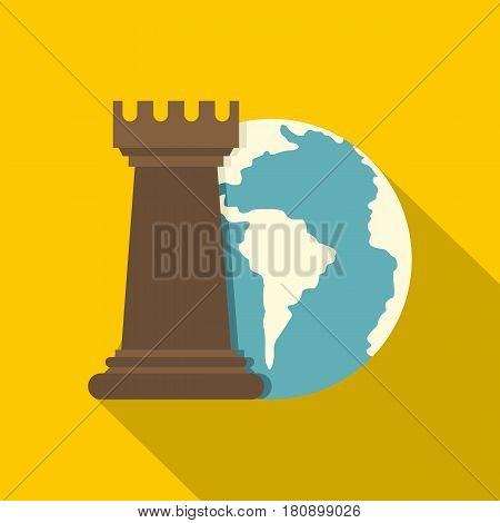 Globe Earth and chess rook icon. Flat illustration of globe Earth and chess rook vector icon for web