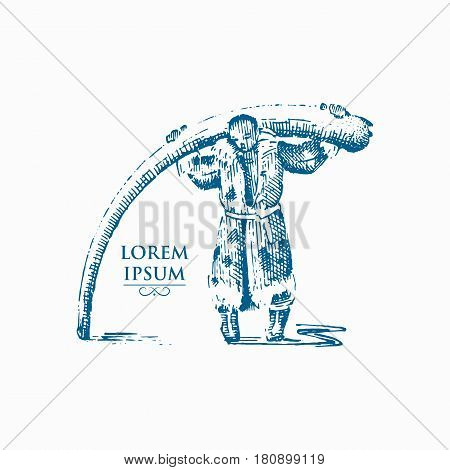 Eskimo with mammoth horn, bones of prehistoric elephant , north concept illustration of native Alaska human, hand drawn or engraved vintage .