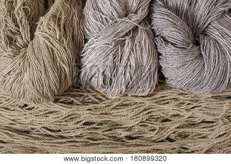 Wool yarn for knitting. Leys and Horizontally arranged threads.