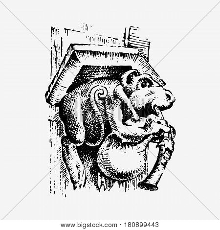Gargoyle Chimera of Notre-Dame de Paris, engraved, hand drawn vector illustration with gothic guardians include architectual elements, vintage statue medieval.