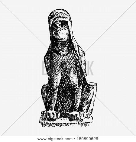 Gargoyle Chimera of Notre-Dame de Paris, engraved, hand drawn vector illustration with gothic guardians include architectual elements, vintage statue medieval.