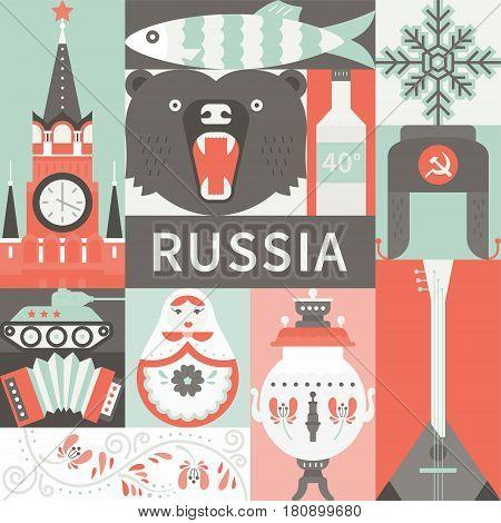 Flat illustration with samovar, matreshka, tank, kremlin and other symbols of Russia. Concept for travel banner.