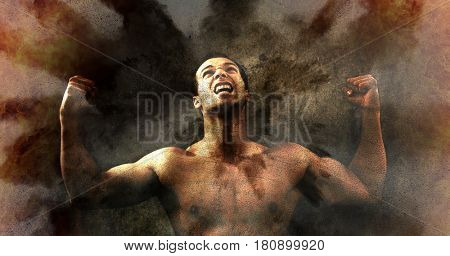 Sports winner. Male athlete victory scream