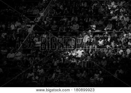 VALENCIA, SPAIN - APRIL 2: Spectators during La Liga match between Valencia CF and Deportivo at Mestalla Stadium on April 2, 2017 in Valencia, Spain