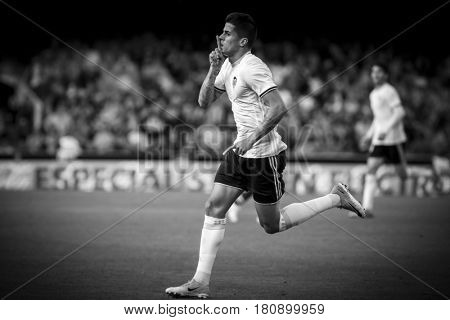 VALENCIA, SPAIN - APRIL 2: Joao Cancelo celebrates a goal during La Liga match between Valencia CF and Deportivo at Mestalla Stadium on April 2, 2017 in Valencia, Spain
