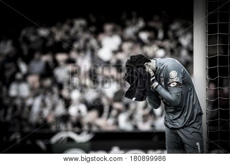 VALENCIA, SPAIN - APRIL 2: German Lux during La Liga match between Valencia CF and Deportivo at Mestalla Stadium on April 2, 2017 in Valencia, Spain
