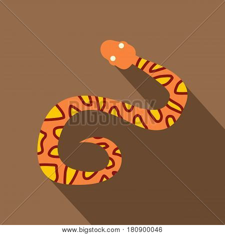 Orange snake with yellow spots icon. Flat illustration of orange snake with yellow spots vector icon for web