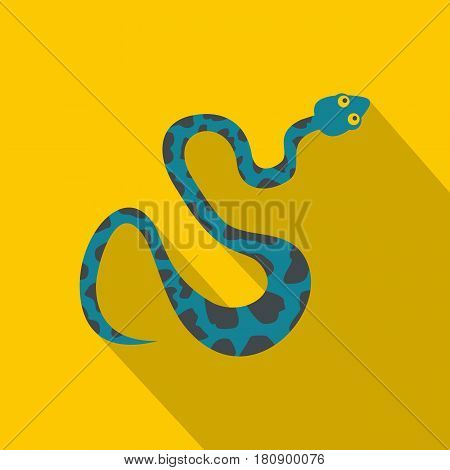Blue snake with spots icon. Flat illustration of blue snake with spots vector icon for web
