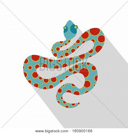 Light blue snake with orange spots icon. Flat illustration of light blue snake with orange spots vector icon for web