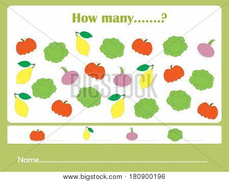 Counting educational games kids, kids activity sheet. How many task objects. Learning math, numbers, addition themes, stock vector illustration