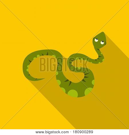 Green spotted snake icon. Flat illustration of green spotted snake vector icon for web