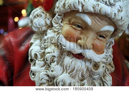 Closeup of a Santa Claus Christmas Ornament