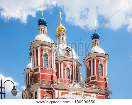Close up view of the baroque church of Saint Clement of Rome in Moscow