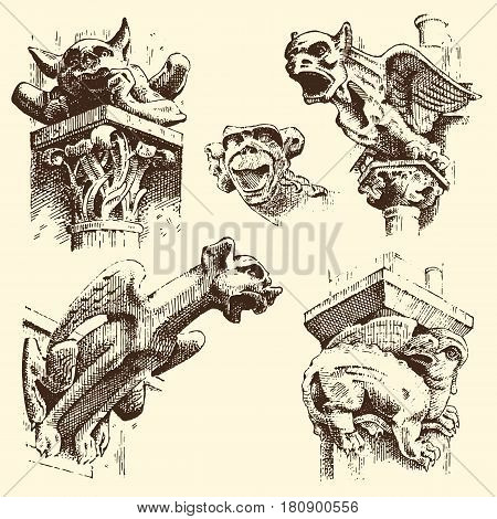 set of Gargoyles Chimera of Notre-Dame de Paris, engraved, hand drawn vector illustration with gothic guardians include architectual elements, vintage statue medieval.