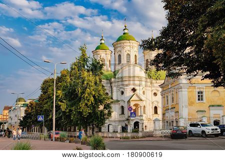 Kiev, Ukraine - September 11, 2016: Pokrovska church is an Orthodox stone Church and a monument of architecture located in Podil. Historical center of Kyiv