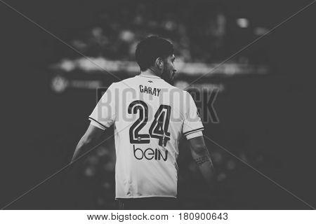 VALENCIA, SPAIN - APRIL 2: Ezequiel Garay during La Liga match between Valencia CF and Deportivo at Mestalla Stadium on April 2, 2017 in Valencia, Spain