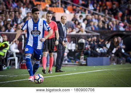 VALENCIA, SPAIN - APRIL 2: Juanfran during La Liga match between Valencia CF and Deportivo at Mestalla Stadium on April 2, 2017 in Valencia, Spain