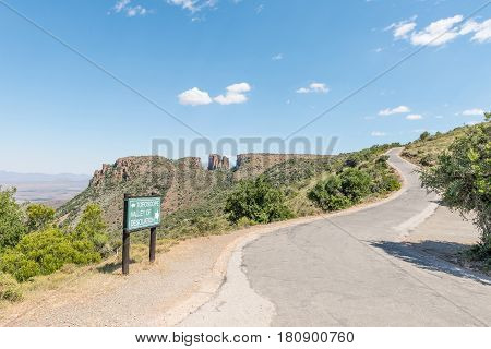 The road to the viewpoint of the Valley of Desolation near Graaff Reinet in the Eastern Cape Province of South Africa