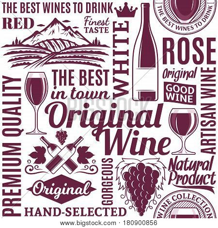 Typographic Vector Wine Seamless Pattern Or Background
