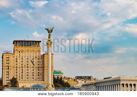 Kiev, Ukraine - September 11, 2016: Statue of Berehynia on the top of Independence Monument in Maidan Nezalezhnosti, Independence Square, Kiev, Ukraine