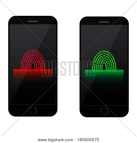 fingerprint scanning on mobile phone screen accept and declined access Finger print symbol and scanner