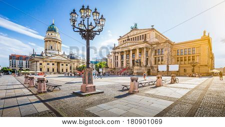 Berlin Gendarmenmarkt Square At Sunset, Central Berlin Mitte District, Germany