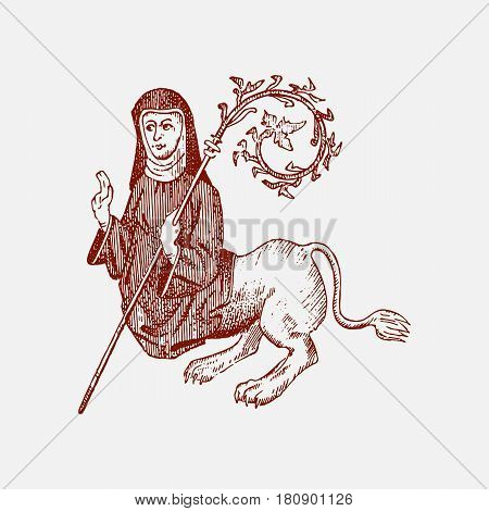 medieval element, decorative hand drawn illustration with old symbols of middle age, gothical ornament piece, engraved chimera half catholic women and lion, praying.
