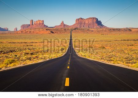 Monument Valley With U.s. Highway 163 At Sunset, Utah, Usa