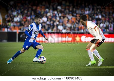 VALENCIA, SPAIN - APRIL 2: Carles Gil with ball during La Liga match between Valencia CF and Deportivo at Mestalla Stadium on April 2, 2017 in Valencia, Spain
