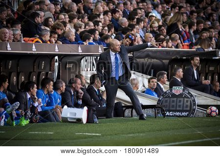 VALENCIA, SPAIN - APRIL 2: Pepe Mel coach during La Liga match between Valencia CF and Deportivo at Mestalla Stadium on April 2, 2017 in Valencia, Spain