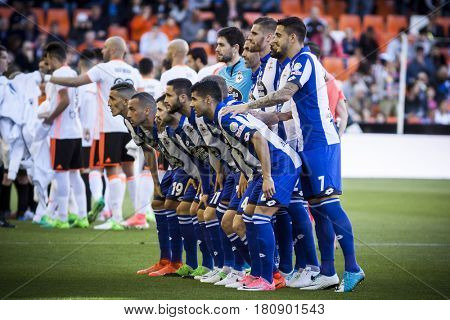 VALENCIA, SPAIN - APRIL 2: Deportivo players during La Liga match between Valencia CF and Deportivo at Mestalla Stadium on April 2, 2017 in Valencia, Spain