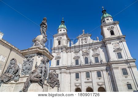 Salzburg Cathedral At Domplatz Town Square In Summer, Salzburg, Austria