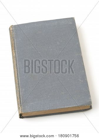 blank vintage gray hardcover book isolated on white background