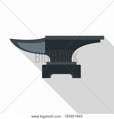Heavy black metal anvil icon. Flat illustration of heavy black metal anvil vector icon for web