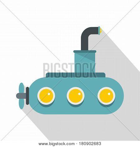 Submarine icon. Flat illustration of submarine vector icon for web