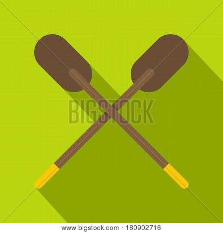Two wooden crossed oars icon. Flat illustration of two wooden crossed oars vector icon for web