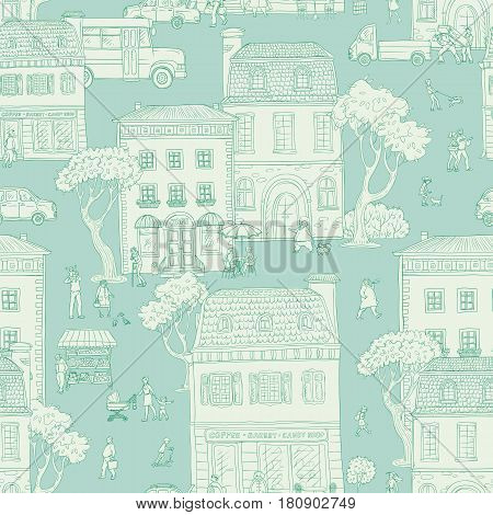 Seamless pattern background. Vector illustration. Urban street in the European city. People walking, residential buildings with cafes and shops, the different situations of town life.