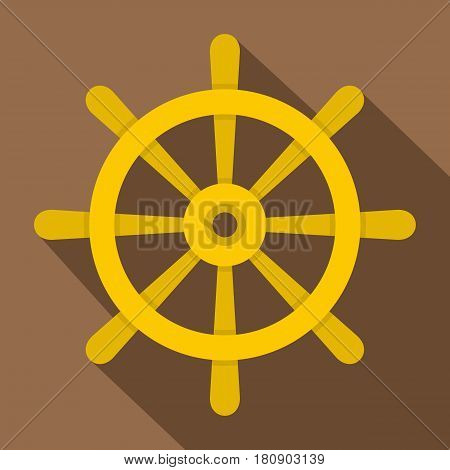 Wooden ship wheel icon. Flat illustration of wooden ship wheel vector icon for web