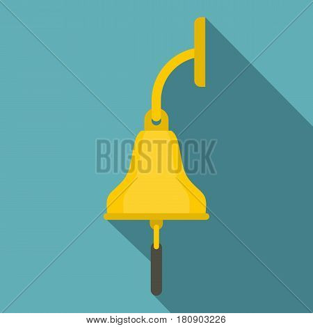 Golden ship bell icon. Flat illustration of golden ship bell vector icon for web