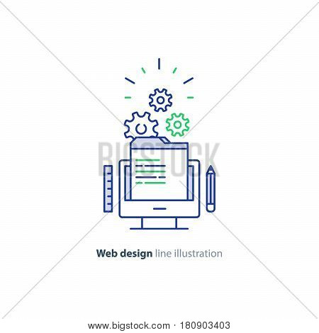 Website design services, internet technology, coding and programming development, system administration, online education, vector mono line icon