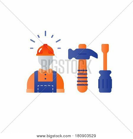 Construction worker in hard hat and jumpsuit, builder in uniform, contractor man, manual labor, hammer and screwdriver vector flat icons