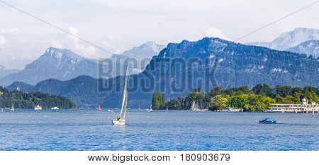 Lake Lucerne With Alps In Summer, Switzerland