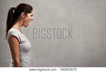 Angry woman profile