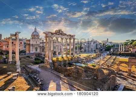 Roman Forum when sunrise at Rome Italy