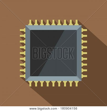 Computer microchip icon. Flat illustration of computer microchip vector icon for web