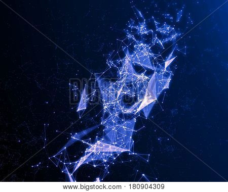 Abstract Digital Background With Blue Cybernetic Particles.