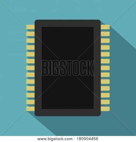 Computer electronic circuit board icon. Flat illustration of computer electronic circuit board vector icon for web